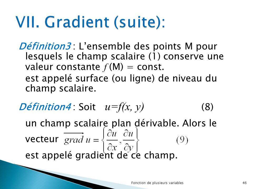 VII. Gradient (suite):