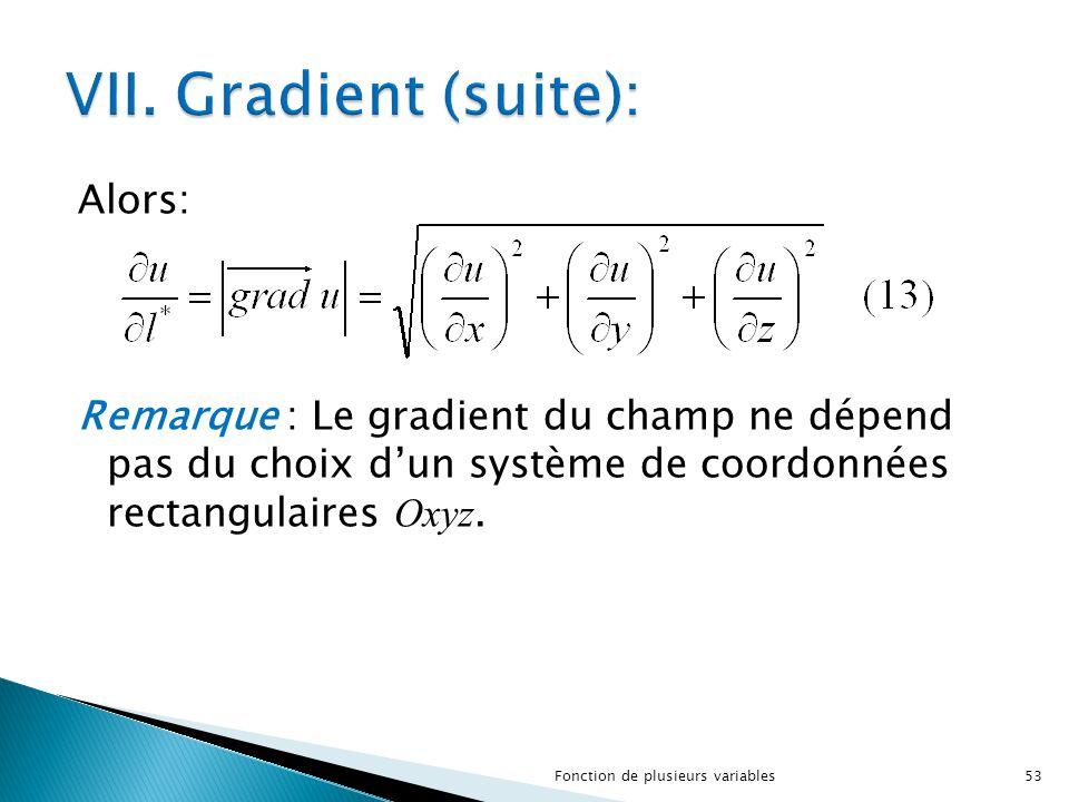 VII. Gradient (suite): Alors: Remarque : Le gradient du champ ne dépend pas du choix d'un système de coordonnées rectangulaires Oxyz.