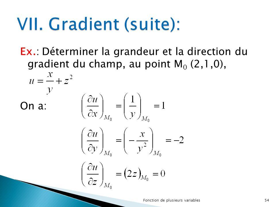 VII. Gradient (suite): Ex.: Déterminer la grandeur et la direction du gradient du champ, au point M0 (2,1,0), On a: