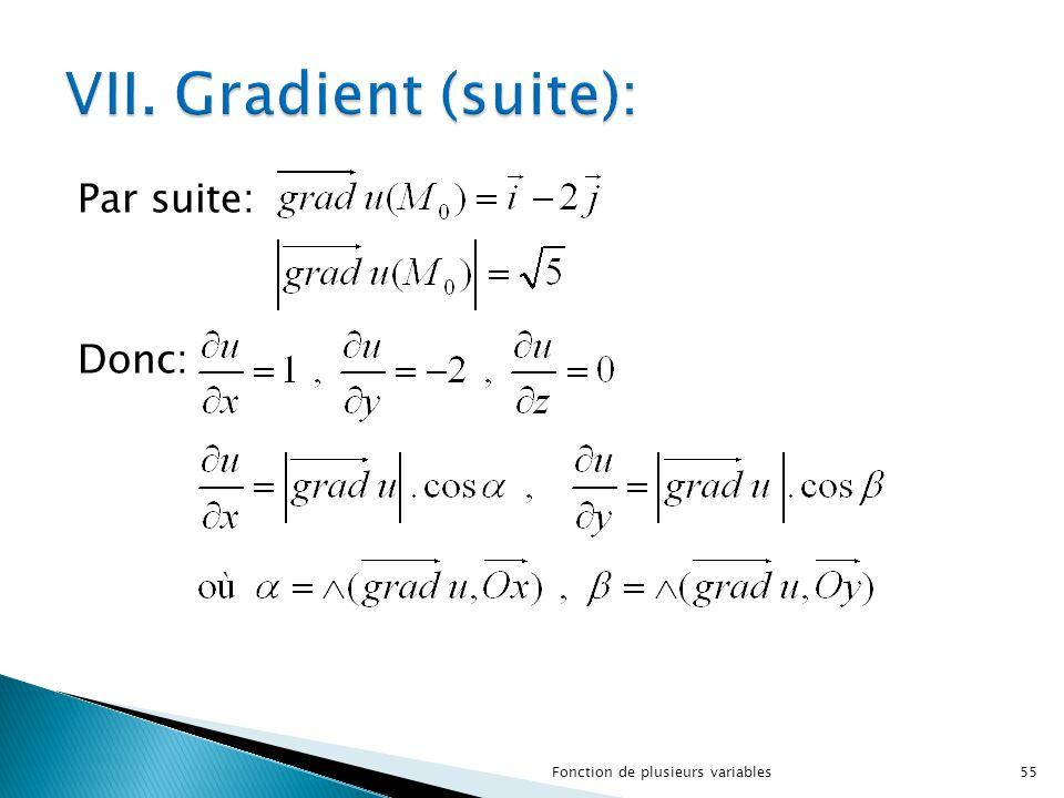 VII. Gradient (suite): Par suite: Donc:
