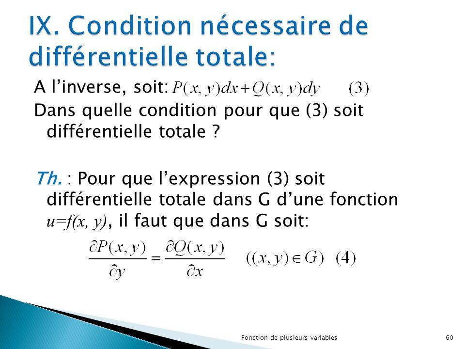 IX. Condition nécessaire de différentielle totale: