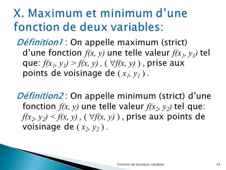 X. Maximum et minimum d'une fonction de deux variables: