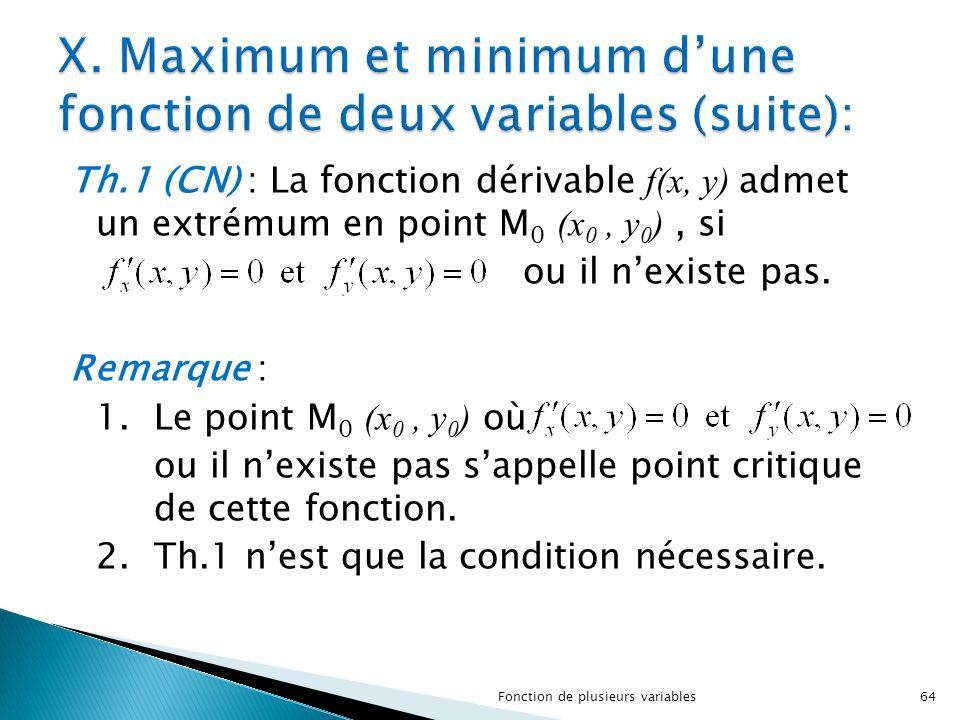 X. Maximum et minimum d'une fonction de deux variables (suite):