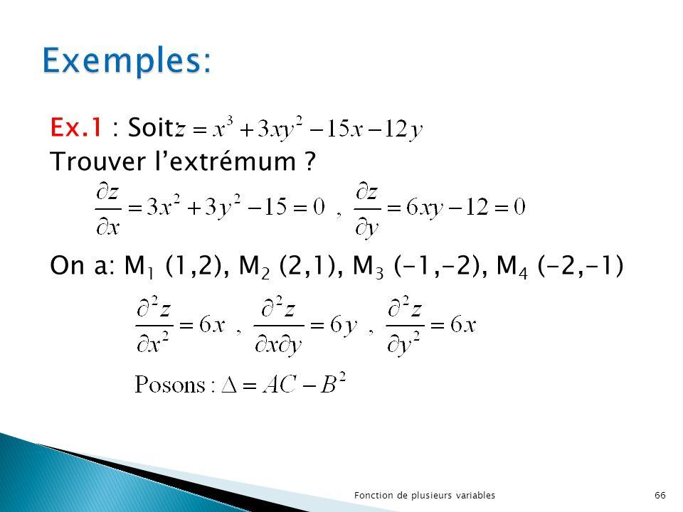 Exemples: Ex.1 : Soit: Trouver l'extrémum .
