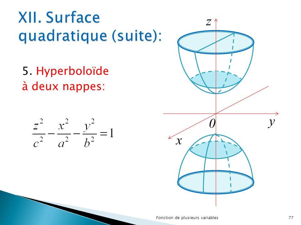 XII. Surface quadratique (suite):