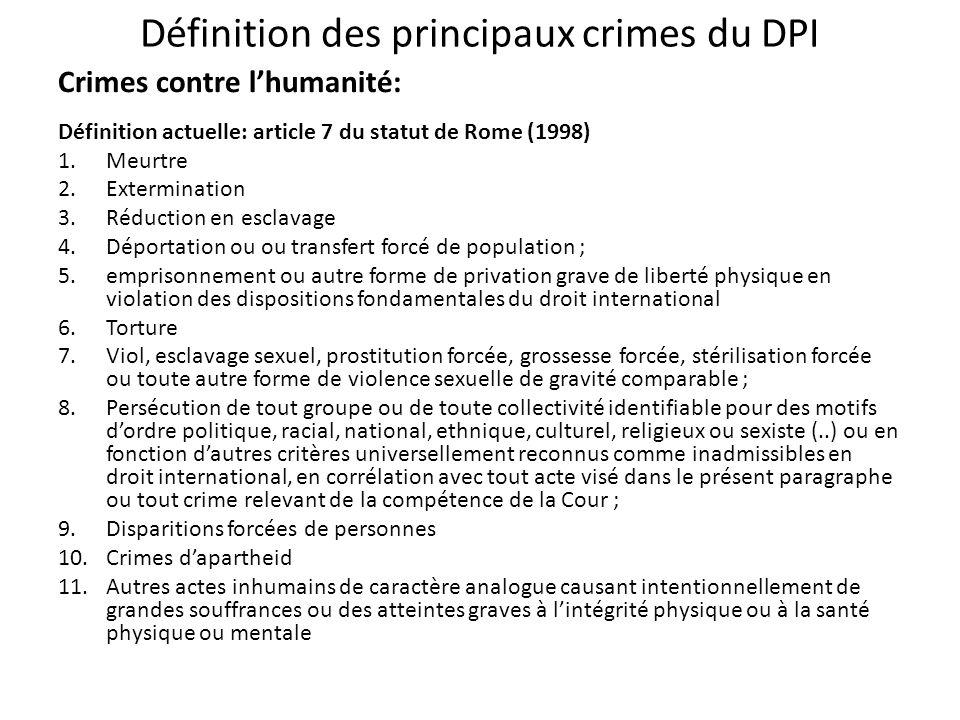 Définition des principaux crimes du DPI
