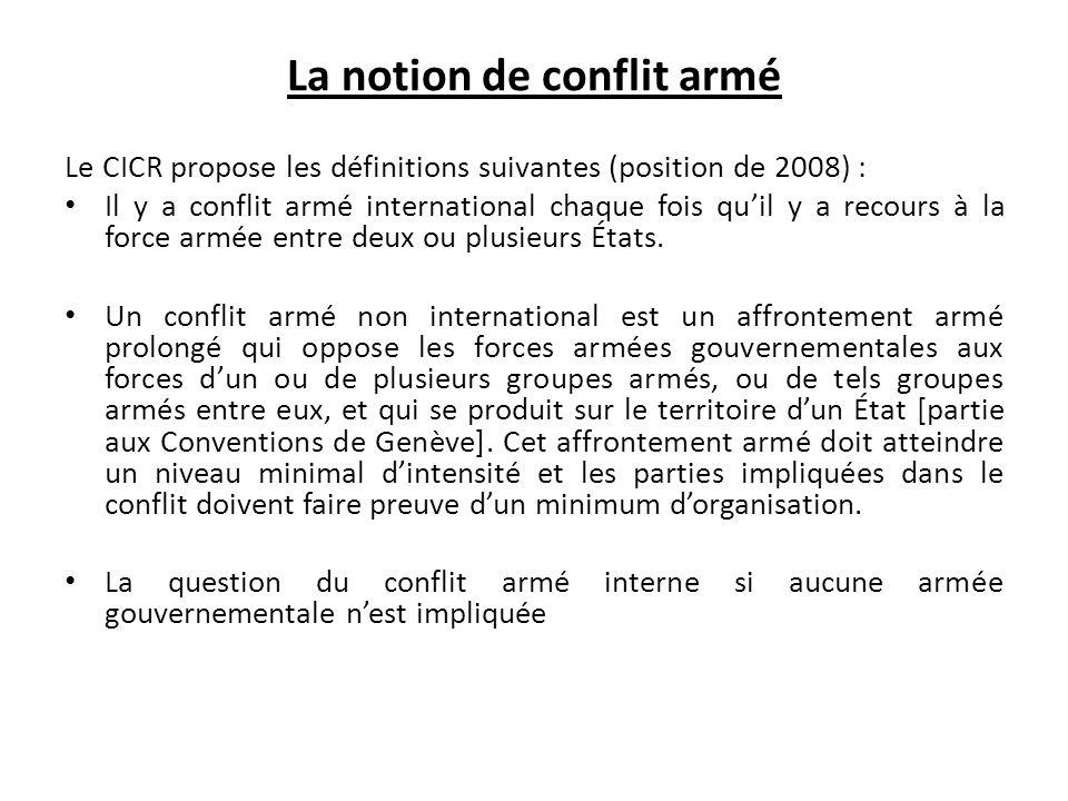 La notion de conflit armé
