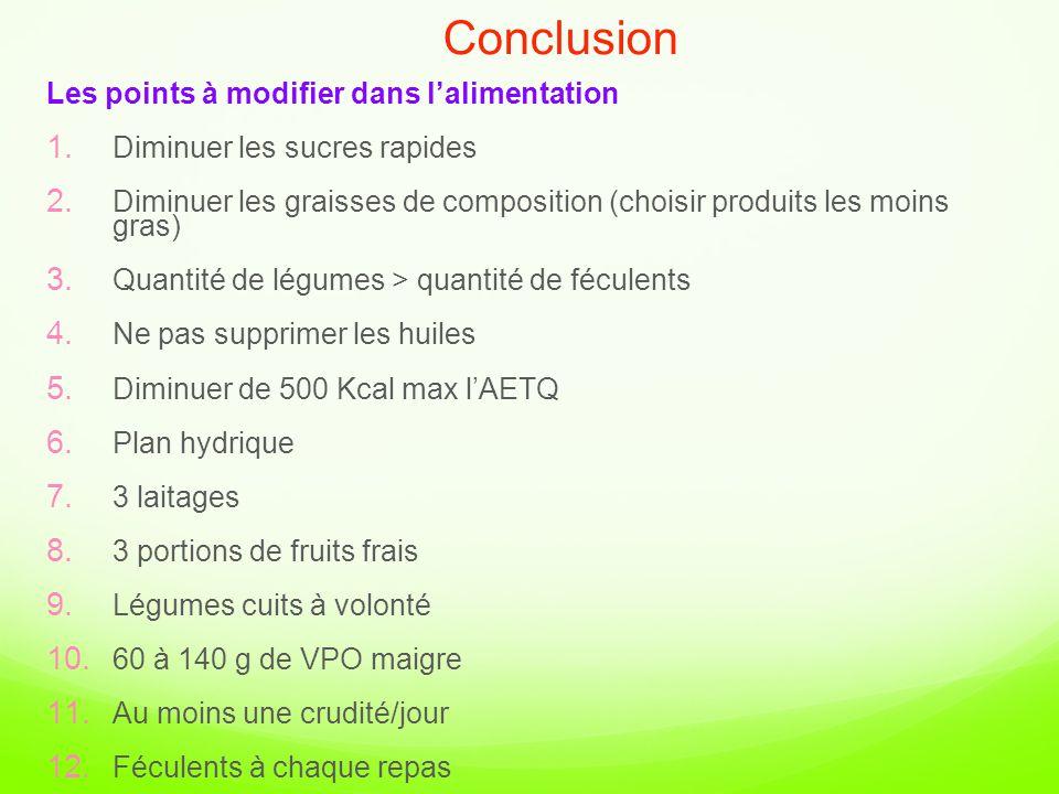 Conclusion Les points à modifier dans l'alimentation