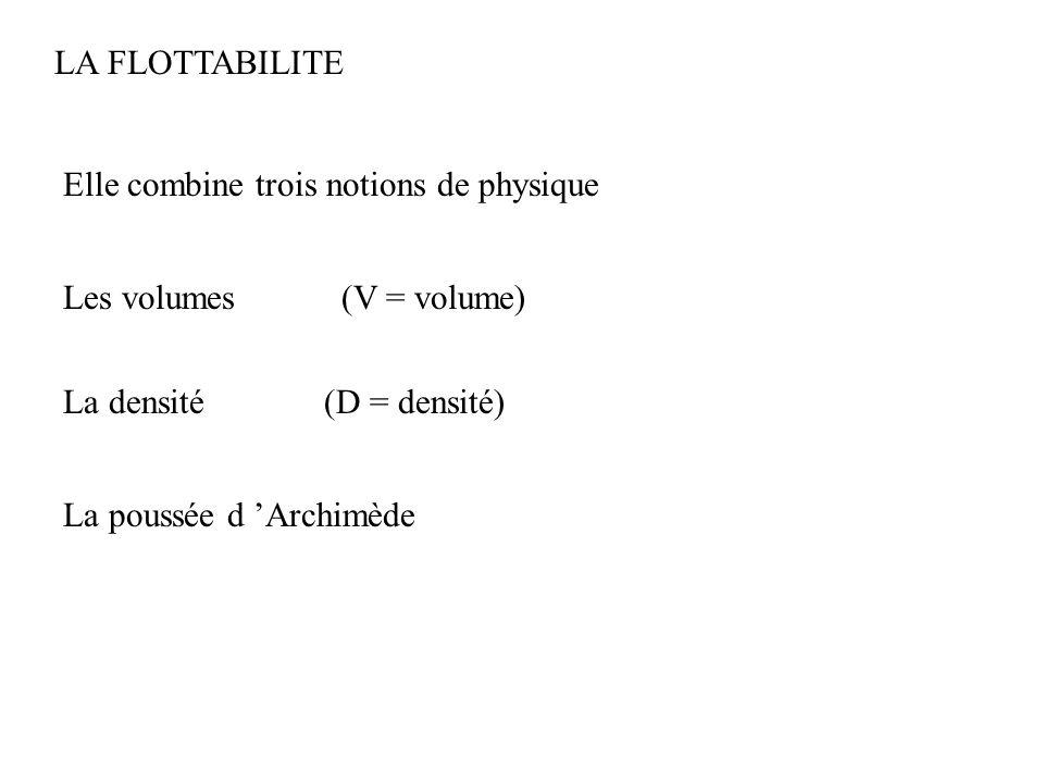 LA FLOTTABILITE Elle combine trois notions de physique. Les volumes. (V = volume) La densité. (D = densité)