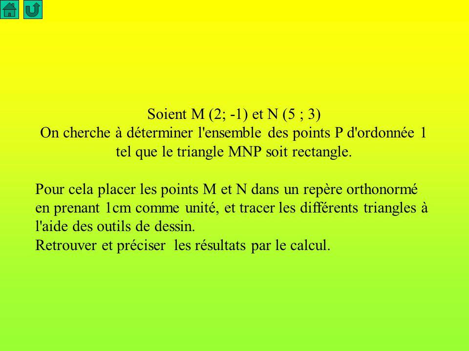 Soient M (2; -1) et N (5 ; 3) On cherche à déterminer l ensemble des points P d ordonnée 1 tel que le triangle MNP soit rectangle.