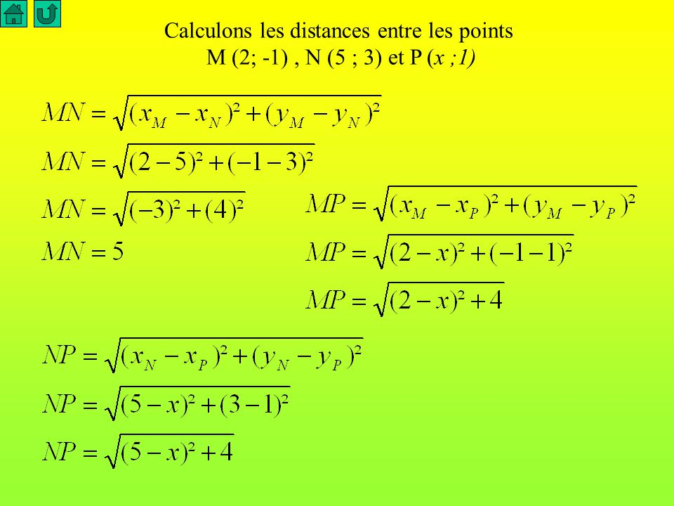 Calculons les distances entre les points