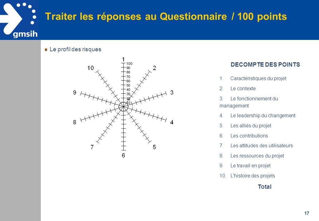 Traiter les réponses au Questionnaire / 100 points