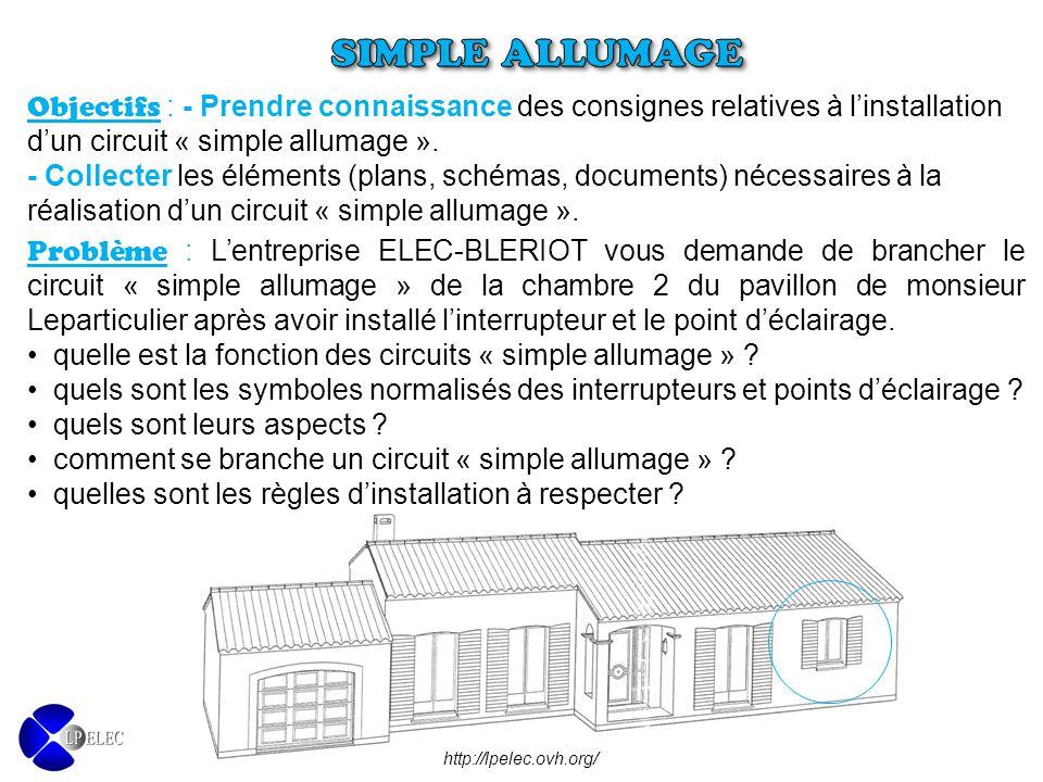 SIMPLE ALLUMAGE Objectifs : - Prendre connaissance des consignes relatives à l'installation d'un circuit « simple allumage ».