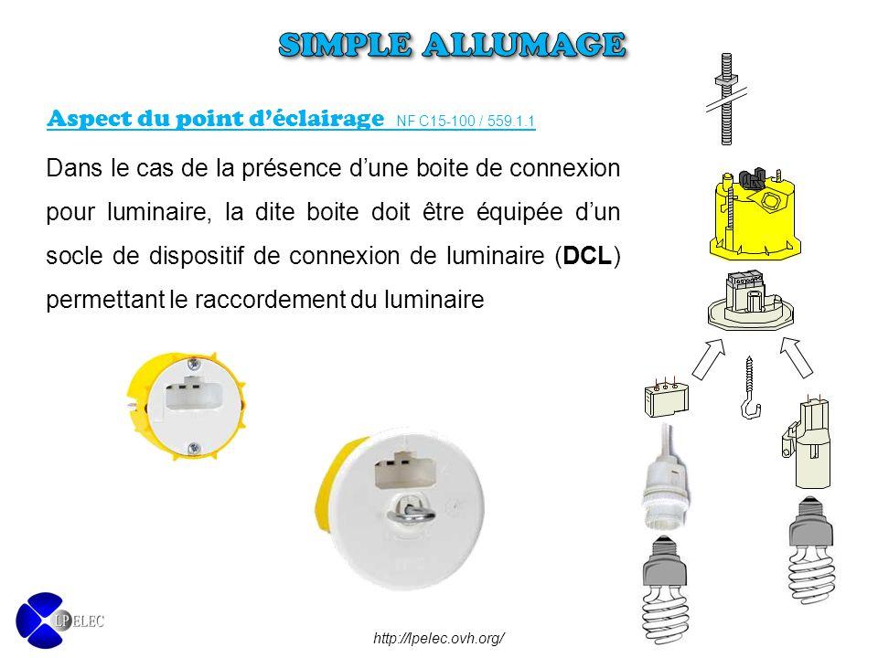 SIMPLE ALLUMAGE Aspect du point d'éclairage NF C15-100 / 559.1.1