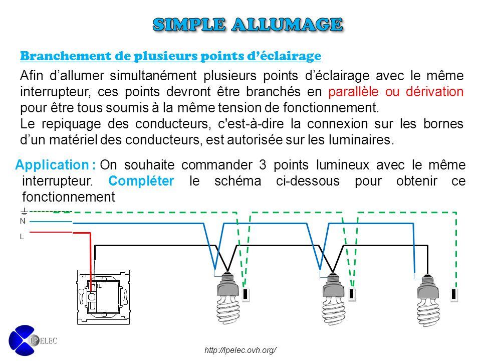 SIMPLE ALLUMAGE Branchement de plusieurs points d'éclairage