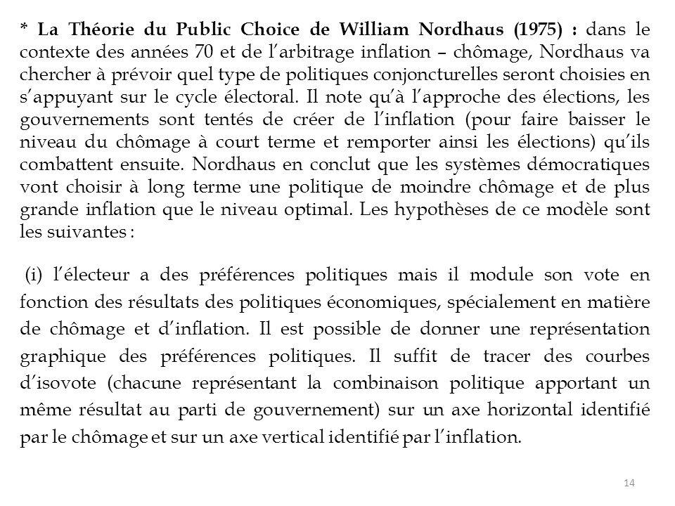 * La Théorie du Public Choice de William Nordhaus (1975) : dans le contexte des années 70 et de l'arbitrage inflation – chômage, Nordhaus va chercher à prévoir quel type de politiques conjoncturelles seront choisies en s'appuyant sur le cycle électoral.