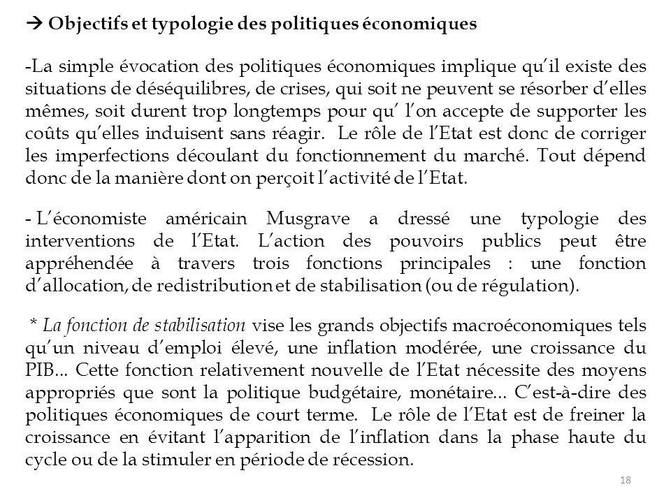  Objectifs et typologie des politiques économiques