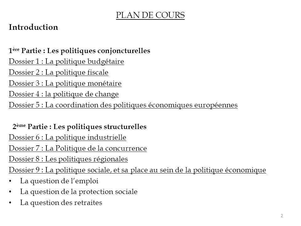 PLAN DE COURS Introduction