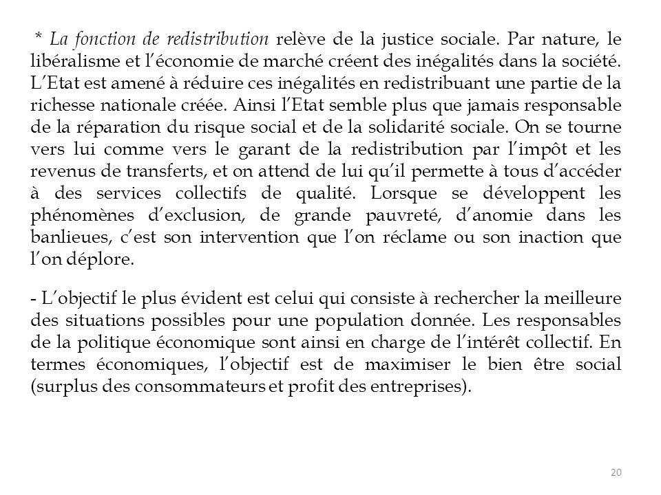 La fonction de redistribution relève de la justice sociale