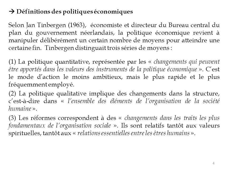 Définitions des politiques économiques Selon Jan Tinbergen (1963), économiste et directeur du Bureau central du plan du gouvernement néerlandais, la politique économique revient à manipuler délibérément un certain nombre de moyens pour atteindre une certaine fin.