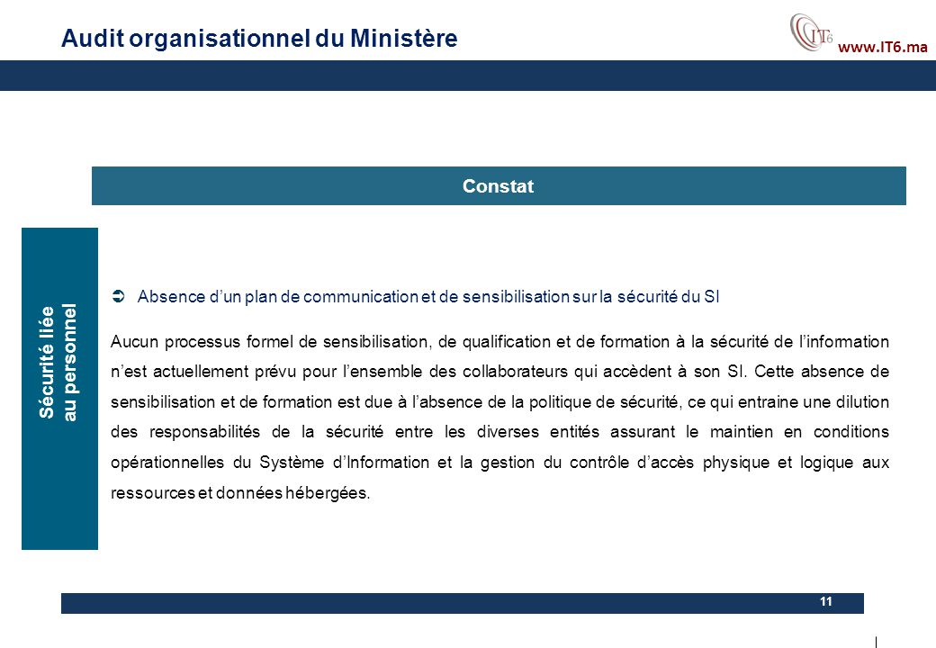 Audit organisationnel du Ministère