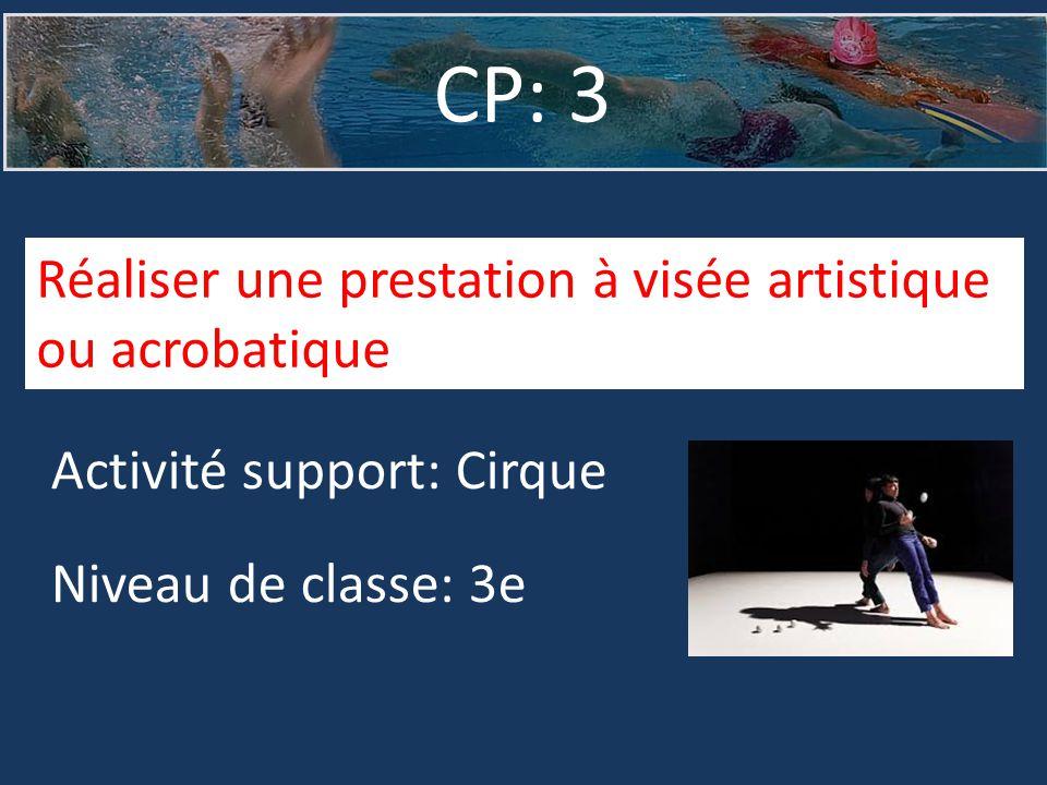 CP: 3 Réaliser une prestation à visée artistique ou acrobatique