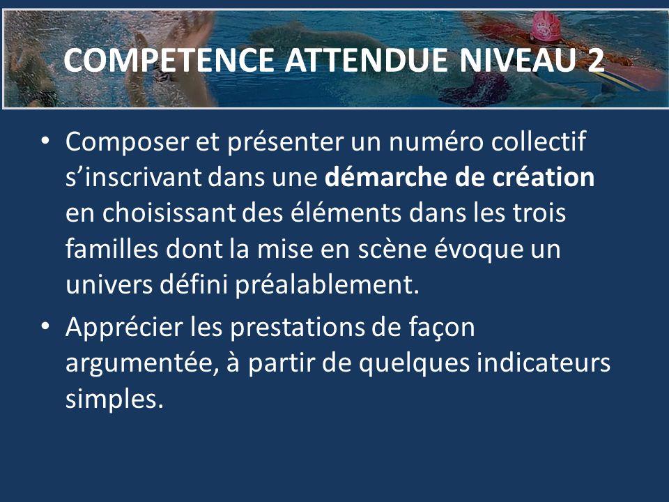 COMPETENCE ATTENDUE NIVEAU 2