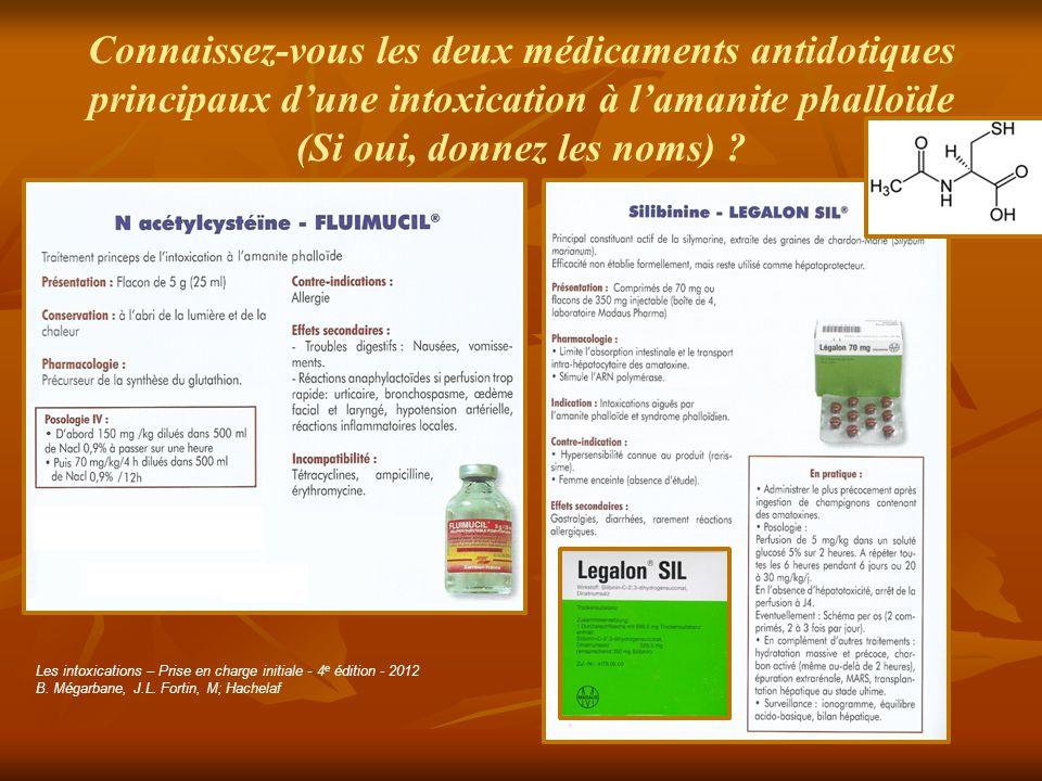 Connaissez-vous les deux médicaments antidotiques principaux d'une intoxication à l'amanite phalloïde (Si oui, donnez les noms)