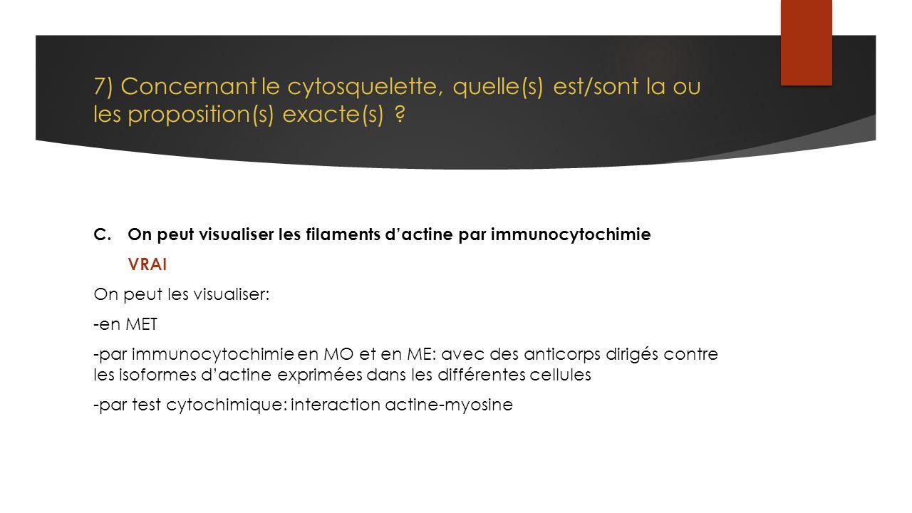 7) Concernant le cytosquelette, quelle(s) est/sont la ou les proposition(s) exacte(s)