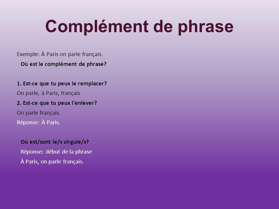 Complément de phrase Exemple: À Paris on parle français.