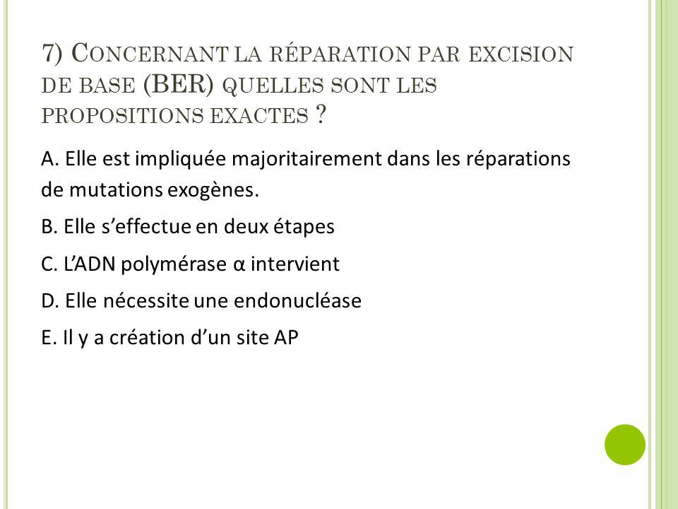 7) Concernant la réparation par excision de base (BER) quelles sont les propositions exactes