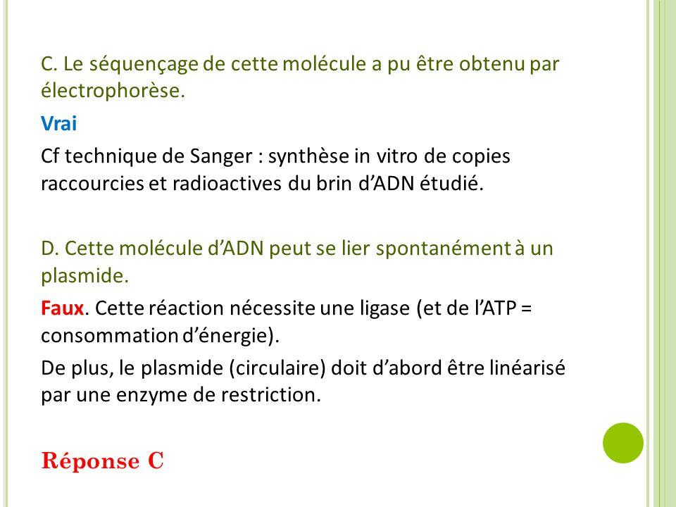 C. Le séquençage de cette molécule a pu être obtenu par électrophorèse