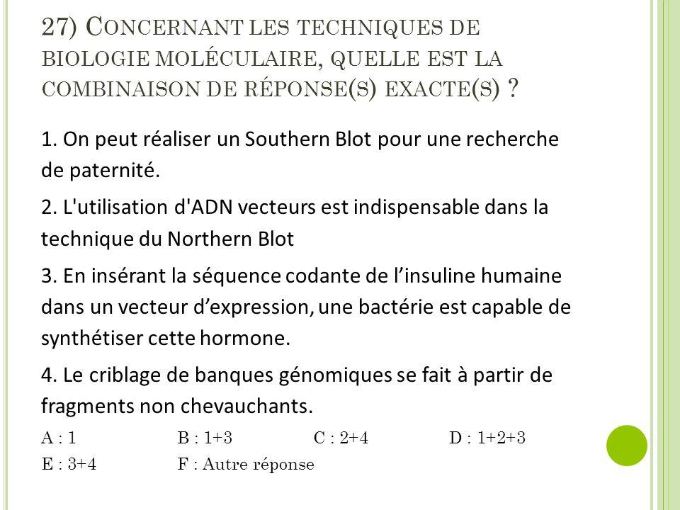 27) Concernant les techniques de biologie moléculaire, quelle est la combinaison de réponse(s) exacte(s)