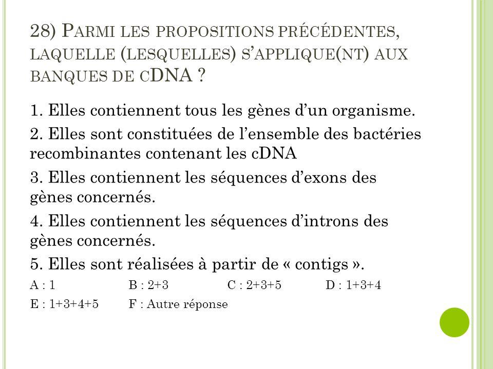 28) Parmi les propositions précédentes, laquelle (lesquelles) s'applique(nt) aux banques de cDNA
