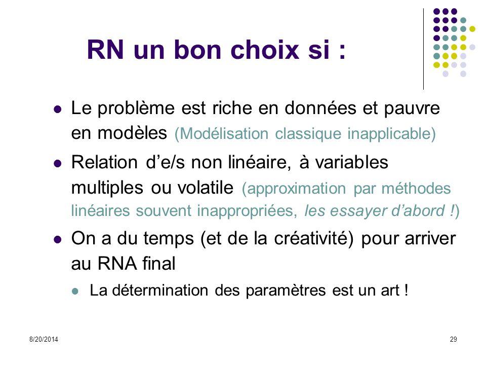 RN un bon choix si : Le problème est riche en données et pauvre en modèles (Modélisation classique inapplicable)