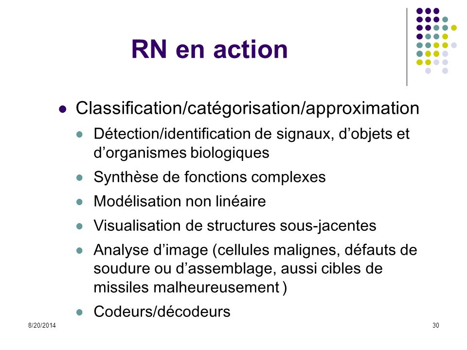RN en action Classification/catégorisation/approximation