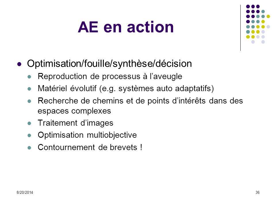 AE en action Optimisation/fouille/synthèse/décision