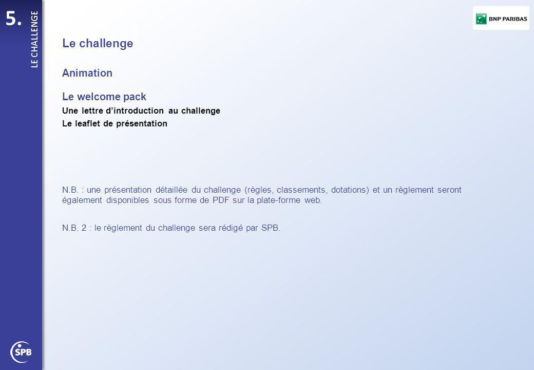Le challenge Animation Le welcome pack