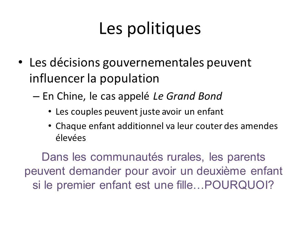 Les politiques Les décisions gouvernementales peuvent influencer la population. En Chine, le cas appelé Le Grand Bond.