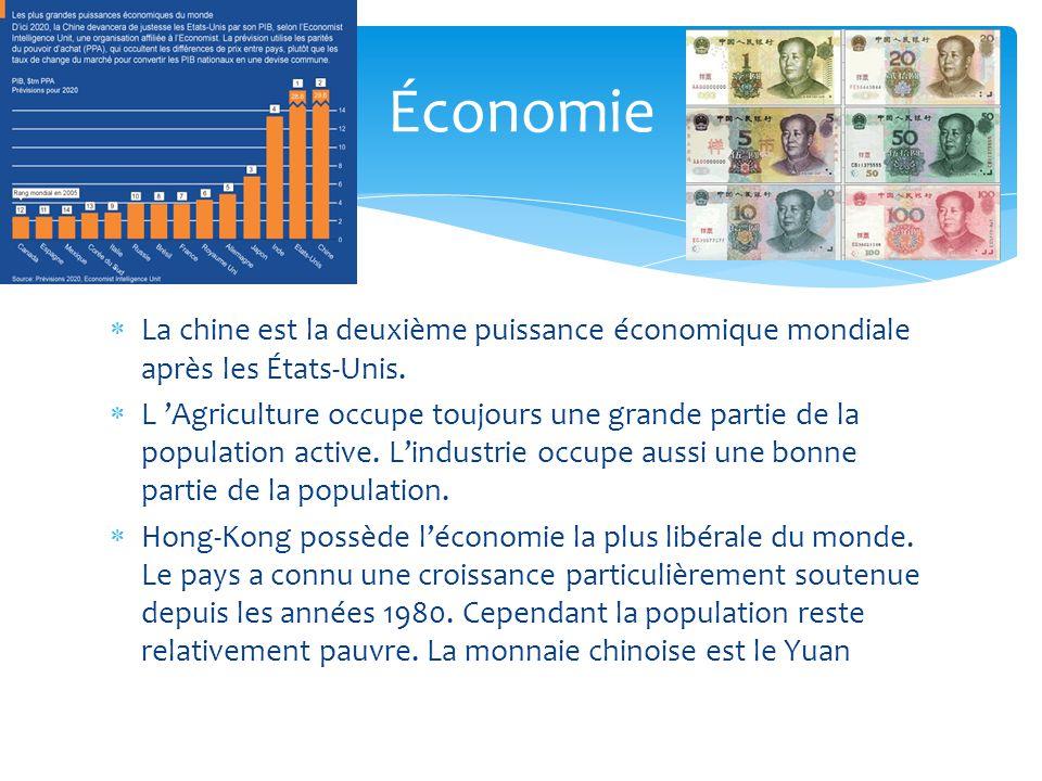 Économie La chine est la deuxième puissance économique mondiale après les États-Unis.