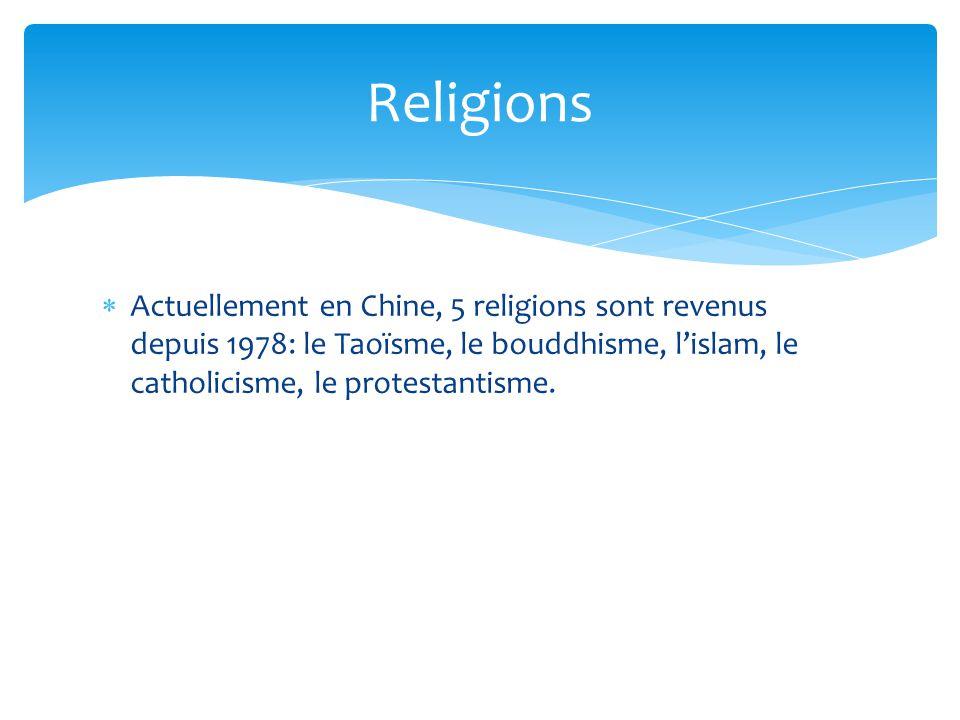 Religions Actuellement en Chine, 5 religions sont revenus depuis 1978: le Taoïsme, le bouddhisme, l'islam, le catholicisme, le protestantisme.