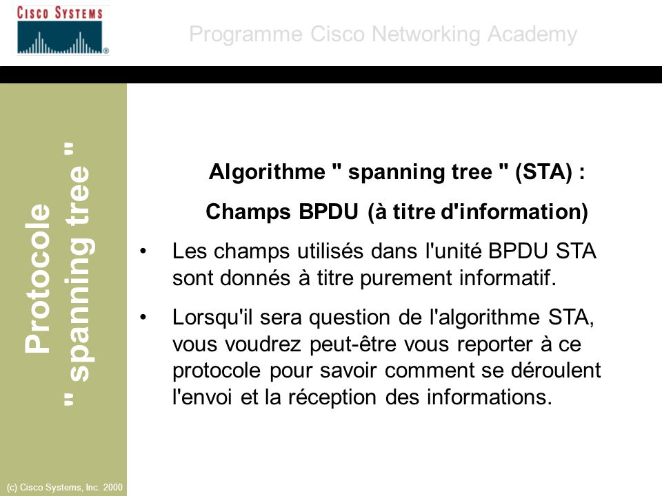 Algorithme spanning tree (STA) :