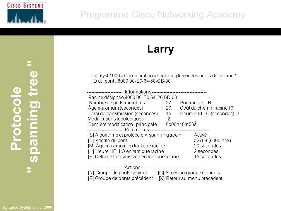 Larry Catalyst 1900 - Configuration « spanning tree