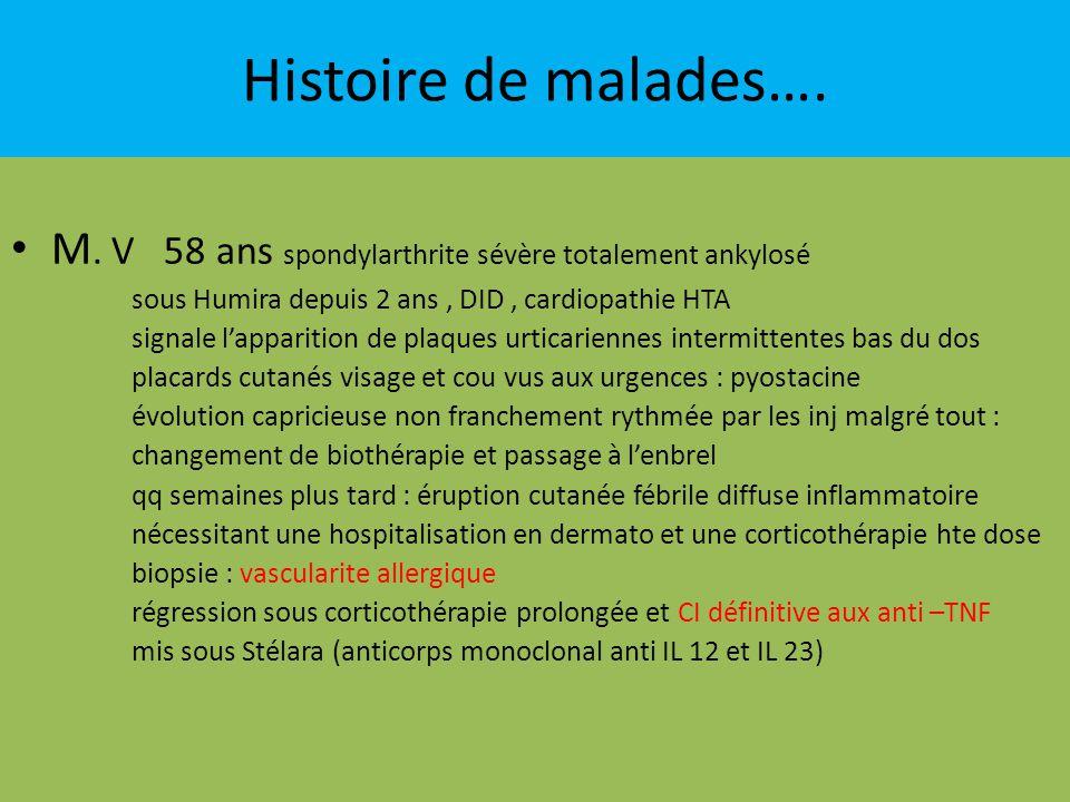 Histoire de malades…. M. V 58 ans spondylarthrite sévère totalement ankylosé. sous Humira depuis 2 ans , DID , cardiopathie HTA.
