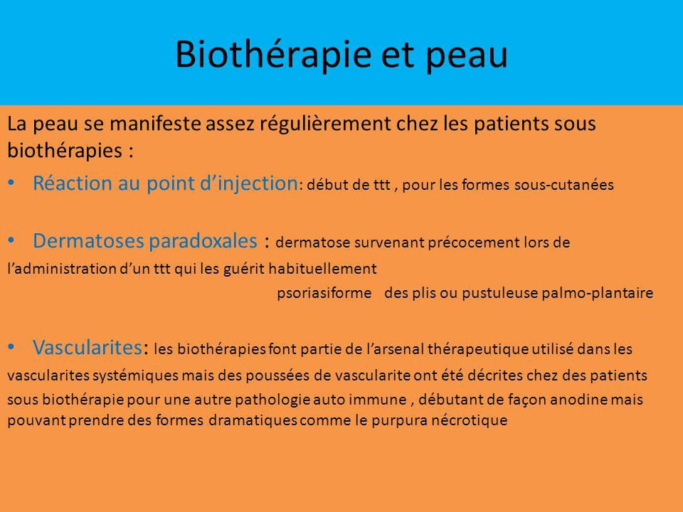 Biothérapie et peau La peau se manifeste assez régulièrement chez les patients sous biothérapies :