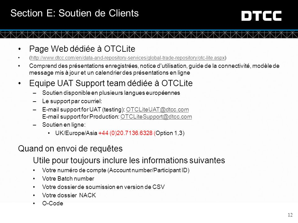 Section E: Soutien de Clients
