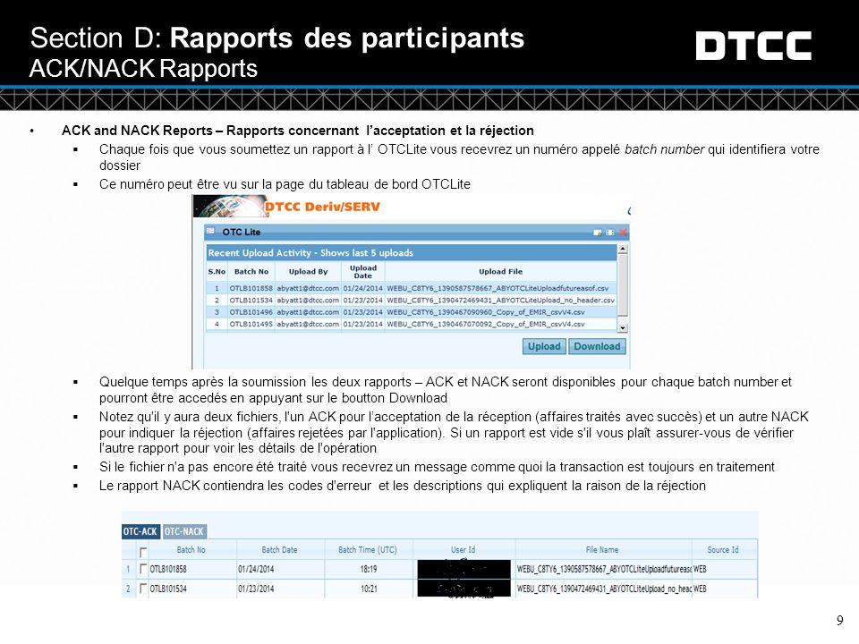 Section D: Rapports des participants ACK/NACK Rapports