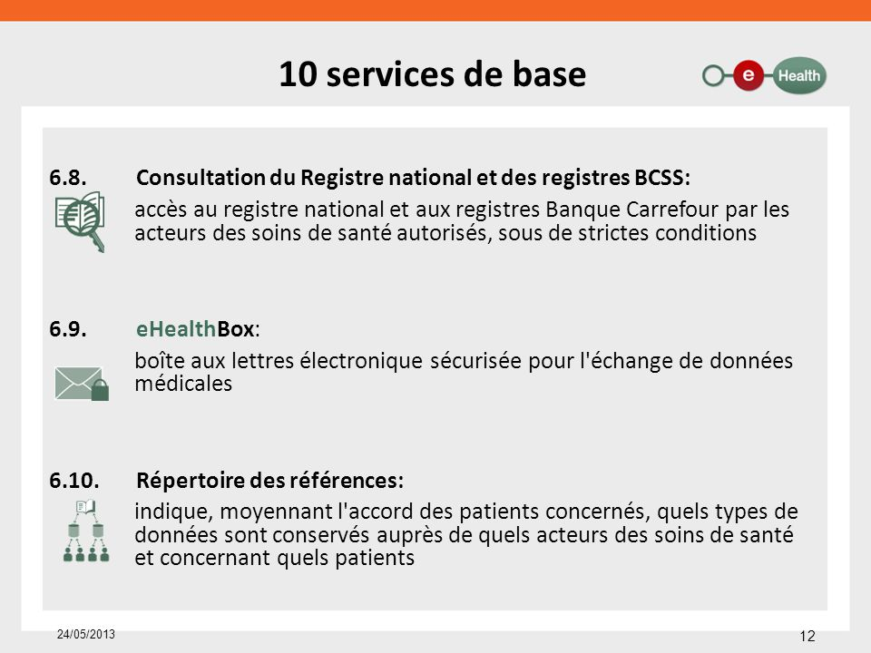 10 services de base 6.8. Consultation du Registre national et des registres BCSS: