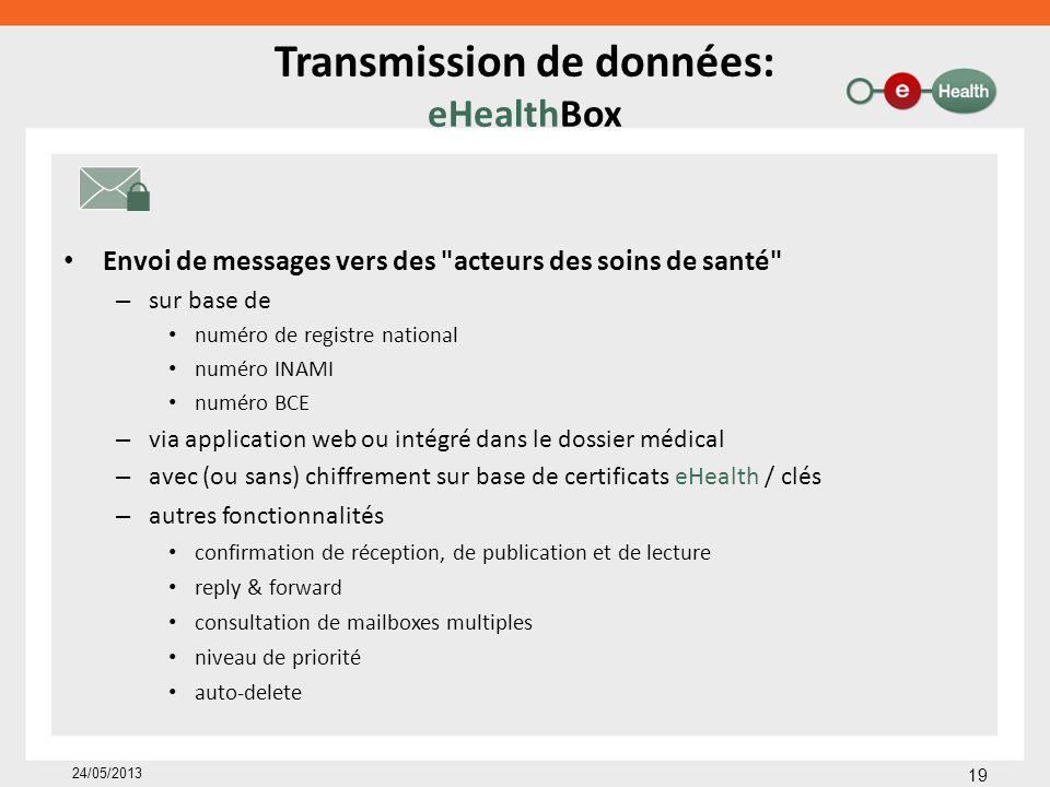Transmission de données: eHealthBox