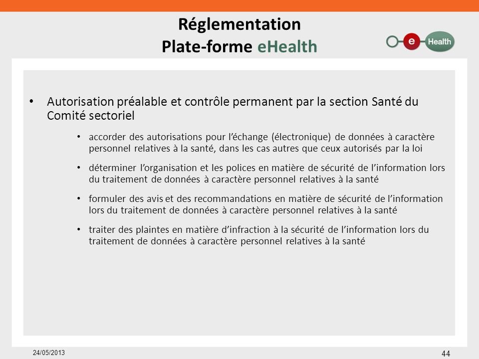 Réglementation Plate-forme eHealth